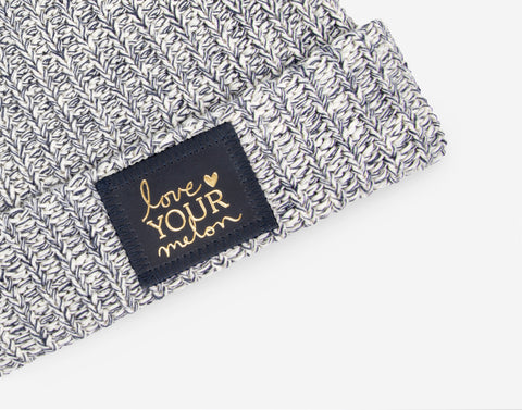 Navy Speckled Cuffed Beanie (Navy Gold Foil Patch)-Beanie-Love Your Melon