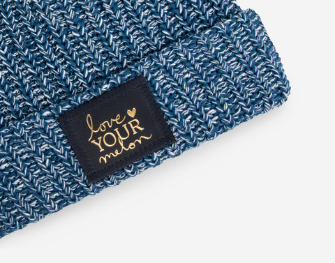 Summit Speckled Cuffed Beanie (Navy Gold Foil Patch)-Beanie-Love Your Melon