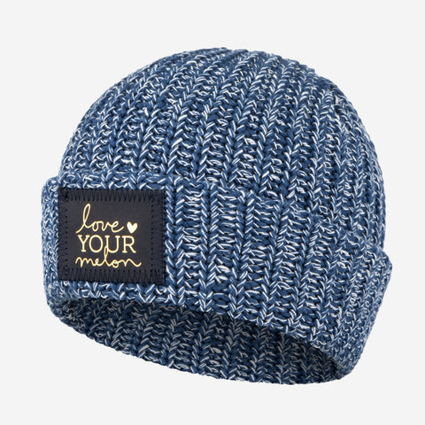 Summit Speckled Cuffed Beanie (Navy Gold Foil Patch)