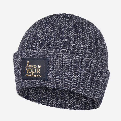 Navy, Charcoal and White Cuffed Beanie (Navy Gold Foil Patch)-Beanie-Love Your Melon