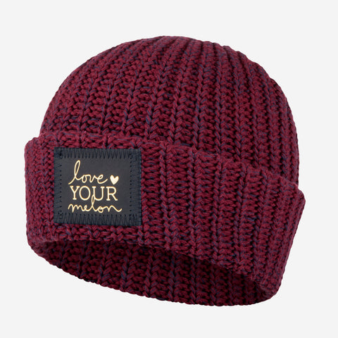 Burgundy and Navy Speckled Cuffed Beanie (Navy Gold Foil Patch)