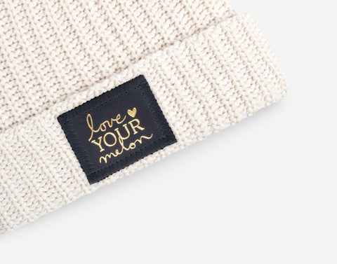 White Speckled Cuffed Beanie (Navy Gold Foil Patch)-Beanie-Love Your Melon