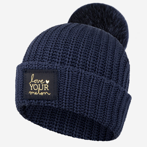 Navy Pom Beanie (Navy Gold Foil Patch)