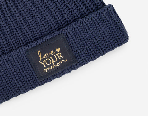 Navy Pom Beanie (Navy Gold Foil Patch)-Beanie-Love Your Melon