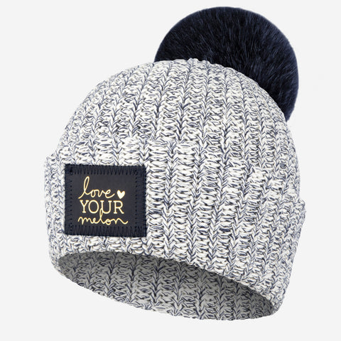 Navy Speckled Pom Beanie (Navy Gold Foil Patch)