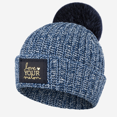 Summit Speckled Pom Beanie (Navy Gold Foil Patch)-Beanie-Love Your Melon