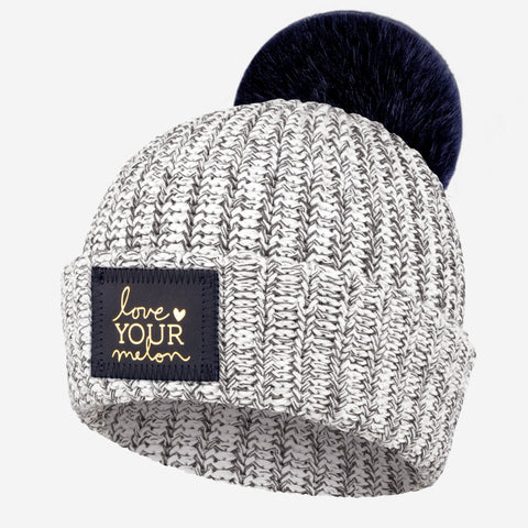 Charcoal Speckled Pom Beanie (Navy Gold Foil Patch)-Beanie-Love Your Melon