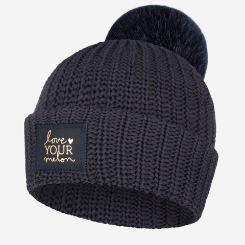 Charcoal and Navy Speckled Pom Beanie (Navy Gold Foil Patch)-Beanie-Love Your Melon