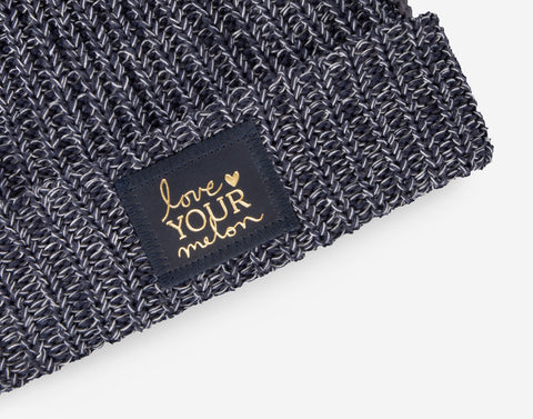 Navy, Charcoal and White Pom Beanie (Navy Gold Foil Patch)