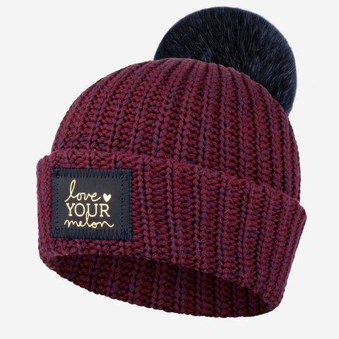 Burgundy and Navy Speckled Pom Beanie (Navy Gold Foil Patch)-Beanie-Love Your Melon