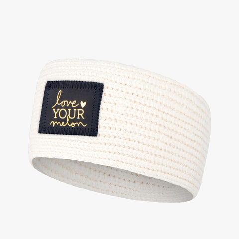 White Speckled Gold Foil Knit Headband (Navy Leather Patch)-Knit Headband-Love Your Melon