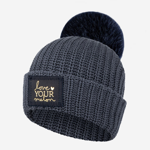 Kids Dark Charcoal Pom Beanie (Navy Gold Foil Patch)