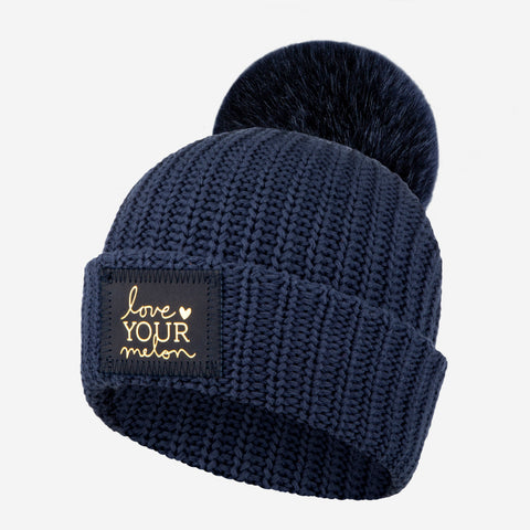Kids Navy Pom Beanie (Navy Gold Foil Patch)