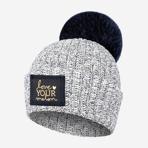 77bf76bc09c oh baby hat yarn pom charcoal on cream oh baby  kids navy speckled pom  beanie navy gold foil patch beanie love your