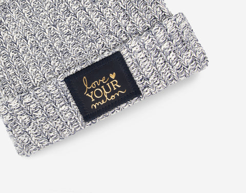 Kids Navy Speckled Pom Beanie (Navy Gold Foil Patch)-Beanie-Love Your Melon