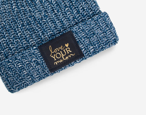 Kids Summit Speckled Pom Beanie (Navy Gold Foil Patch)-Beanie-Love Your Melon