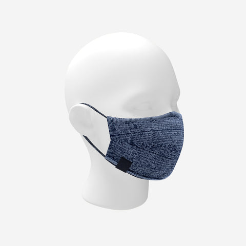 Adult Navy and White Speckled Cotton Seamless 3D Knit Face Mask