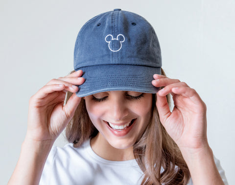 Mickey Mouse Outline Navy Denim Washed Cap