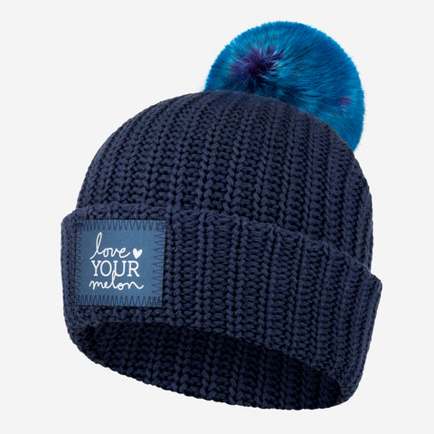 Navy Frost Pom Beanie (Navy Reflective)-Beanie-Love Your Melon