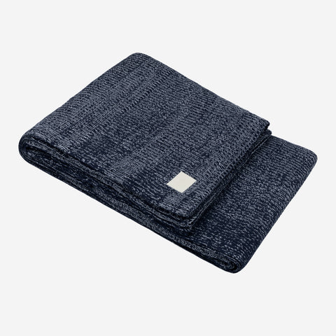 Dark Navy and White Speckled Oversized Cotton Blanket
