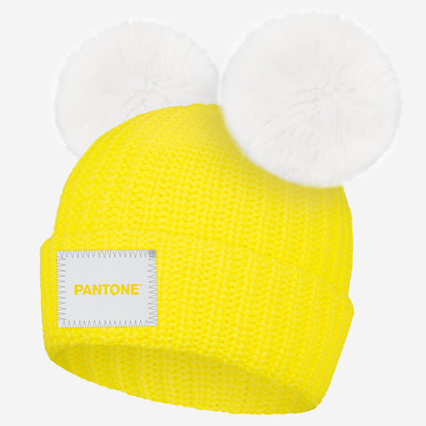 Pantone Illuminating Yellow Double Pom Beanie
