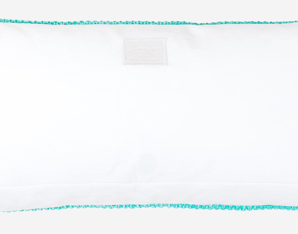Mint and Blush Speckled Rectangle Knit Throw Pillow