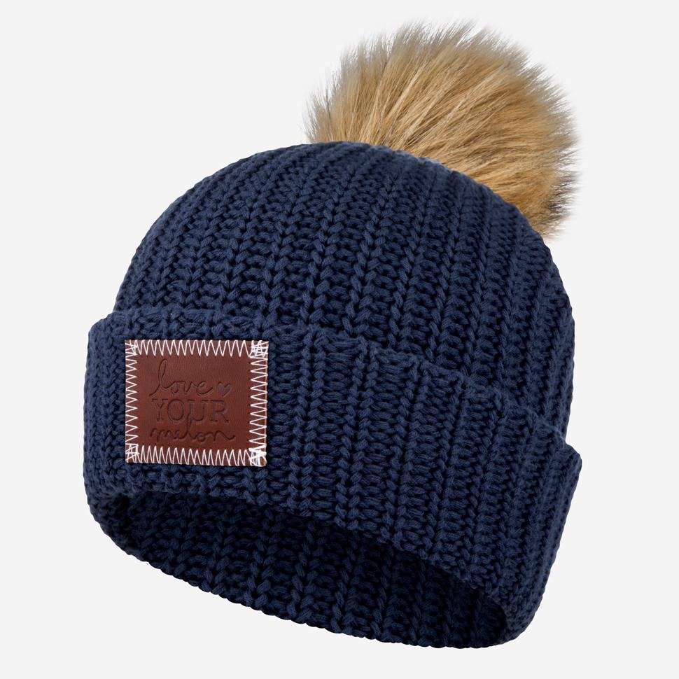 1e9226b830c ... shop navy pom beanie natural pom love your melon 0678a d4a4d