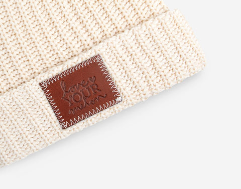 White Speckled Pom Beanie (Natural Pom)-Beanie-Love Your Melon