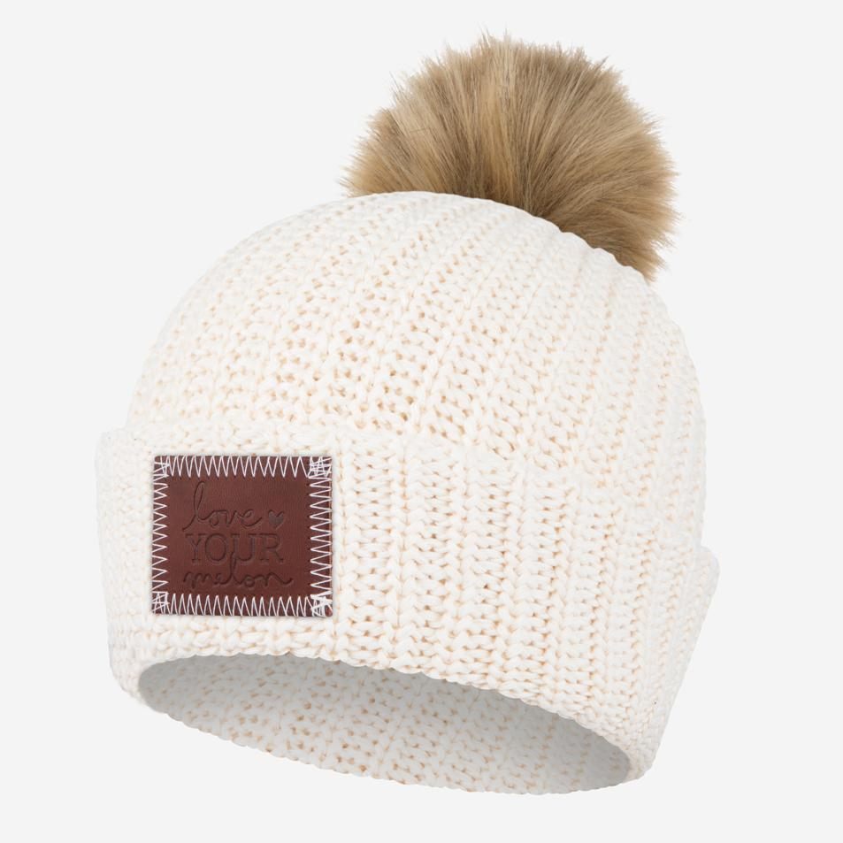 6214675c3dc Love Your Melon White Speckled Pom Beanie (Natural Pom)