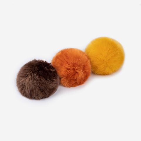 Dark Brown, Rusty Yellow, and Burnt Orange Pom Pack
