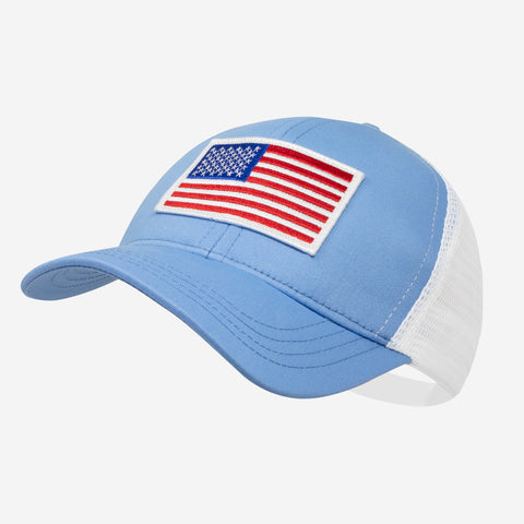 Light Blue American Flag Mesh Cap