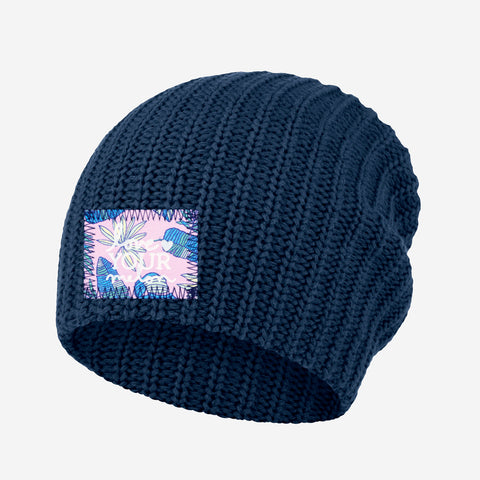 Light Navy Beanie (Pink Palmetto Patch)