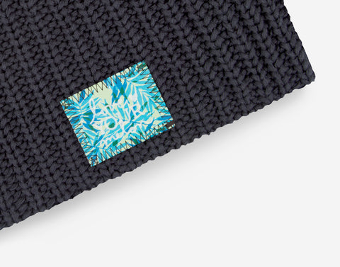 Dark Charcoal Beanie (California Palm Patch)
