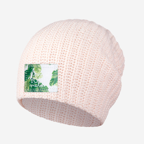 White and Blush Speckled Beanie (Banana Leaf Patch)