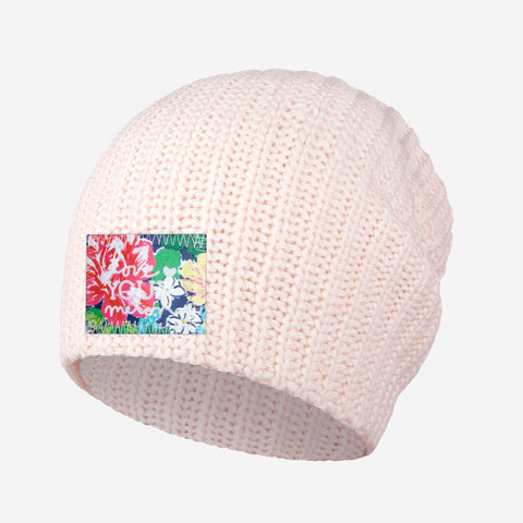White and Blush Speckled Beanie (Rose Garden Patch)