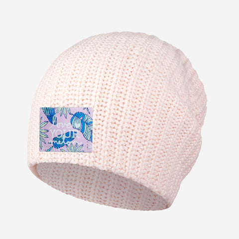 White and Blush Speckled Beanie (Pink Palmetto Patch)