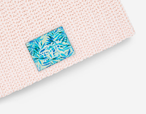 White and Blush Speckled Beanie (California Palm Patch)