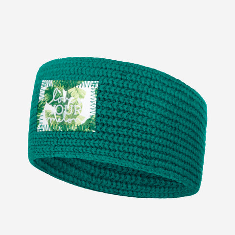 Quetzal Green Knit Headband (Banana Leaf Patch)