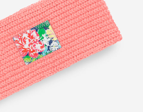 Pink Salmon Knit Headband (Rose Garden Patch)