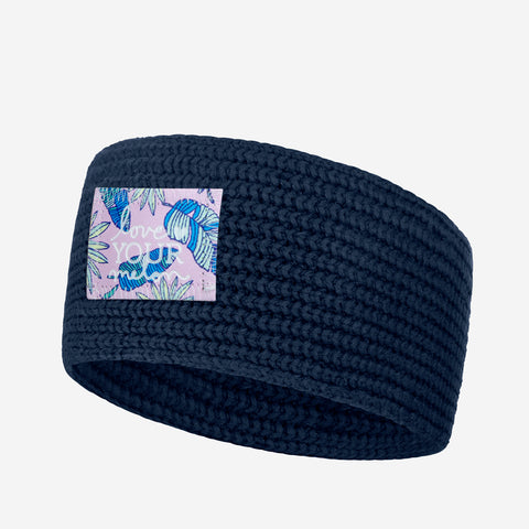 Light Navy Knit Headband (Pink Palmetto Patch)