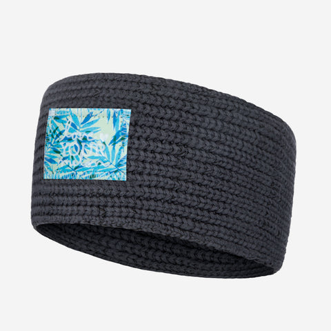 Dark Charcoal Knit Headband (California Palm Patch)