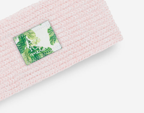White and Blush Speckled Knit Headband (Banana Leaf Patch)