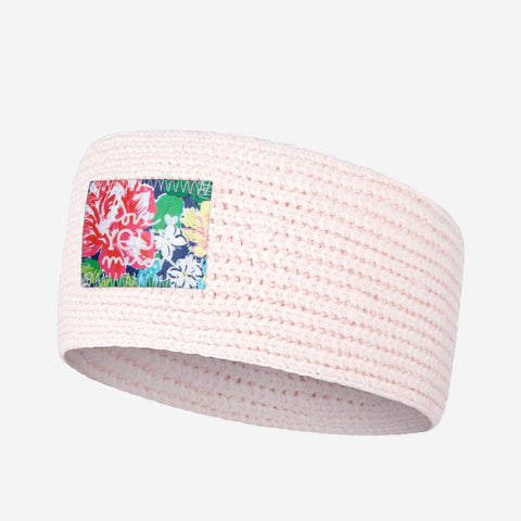 White and Blush Speckled Knit Headband (Rose Garden Patch)