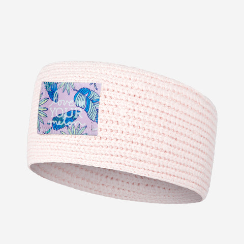 White and Blush Speckled Knit Headband (Pink Palmetto Patch)