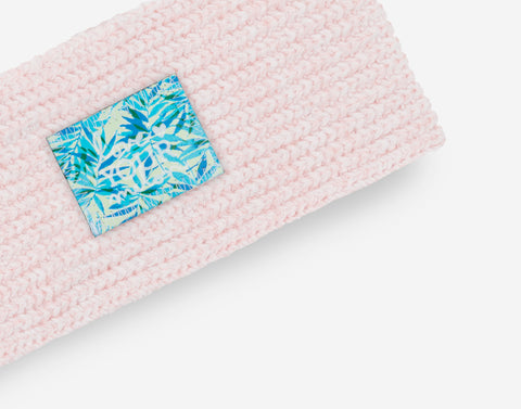 White and Blush Speckled Knit Headband (California Palm Patch)