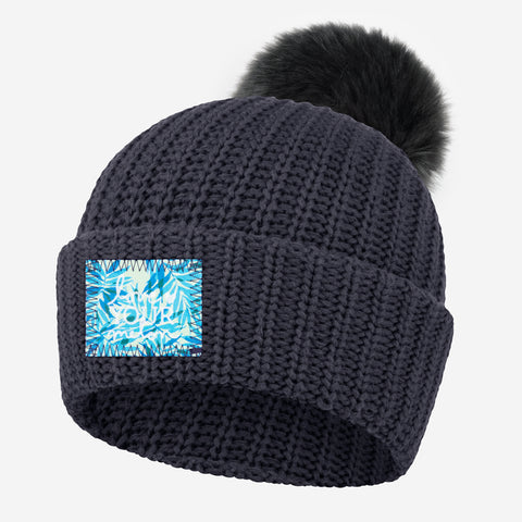 Dark Charcoal Pom Beanie (California Palm Patch)
