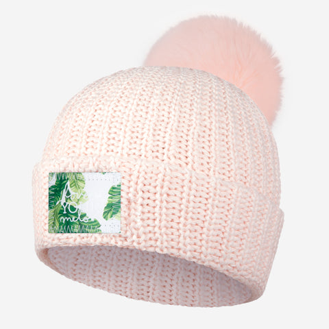 White and Blush Speckled Pom Beanie (Banana Leaf Patch)