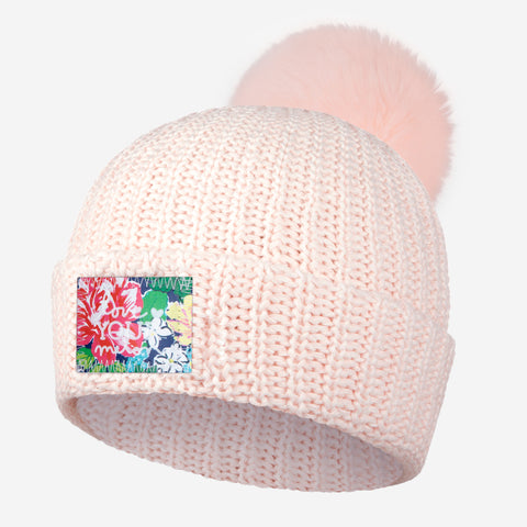 White and Blush Speckled Pom Beanie (Rose Garden Patch)