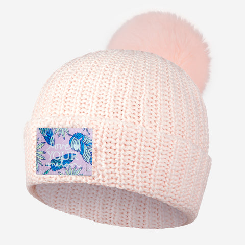White and Blush Speckled Pom Beanie (Pink Palmetto Patch)