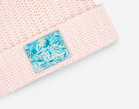 White and Blush Speckled Pom Beanie (California Palm Patch)